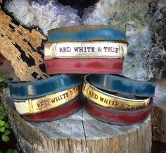 Triple wrap leather cuff, red white and true, USA, metal stamping.  www.ahavadesign.com