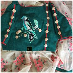 pretty collection . Beautiful designer saree and designer crop top. Boat neck blouse with sparrow design hand embroidery thread work on yoke. Sequence of buttons given new trendy look. 24 January 2018