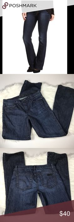 "Joe Jeans Provocateur Boot Cut Dark Wash Excellent condition! Size Women's 27. Dark wash. Cotton with a little stretch. Measurements when laid flat: 15.25"" waist, 9"" rise, 32"" inseam.  🚫No trades! 💗Offers through the offer button only 📦Bundle and save 15% off your order Joe's Jeans Jeans Boot Cut"