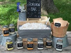 Wedding Food 20 Food Bar Ideas Perfect for Your Next Event - Ideal Me - One trend that we've fallen in love with lately is the food bar. Check out these 20 fun food bar ideas that'll be perfect for your next big event. Wedding Reception Food, Wedding Catering, Diy Wedding, Wedding Ideas, Wedding Snack Bar, Wedding Popcorn Bar, Wedding Decor, Wedding Foods, Catering Menu