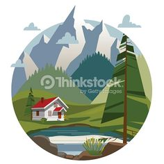Houses in the mountains. Trendy flat style, vector illustrations, landscape