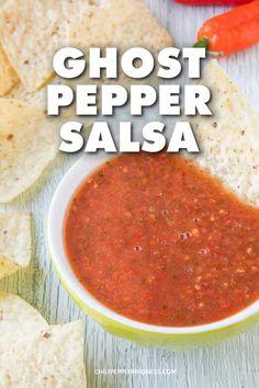 Hot Salsa Recipes, Hot Pepper Recipes, Mexican Salsa Recipes, Sauce Recipes, Cooking Recipes, 21 Day Fix, Ghost Pepper Salsa Recipe, Ghost Pepper Sauce, Salsa Ranchera