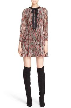 Alice + Olivia 'Gwyneth' Print Tie Neck Fit & Flare Dress