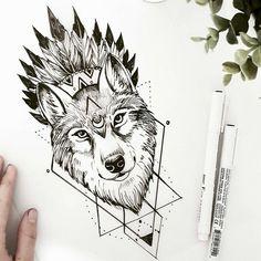 Tattoo Designs Geometric Wolf New Ideas Wolf Tattoos, Elephant Tattoos, Animal Tattoos, New Tattoos, Body Art Tattoos, Sleeve Tattoos, Tatoos, Wolf Tattoo Design, Tattoo Designs