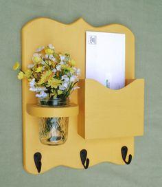Mail Organizer - Mail and Key Holder - Letter Holder - Key Hooks- Jar Vase…
