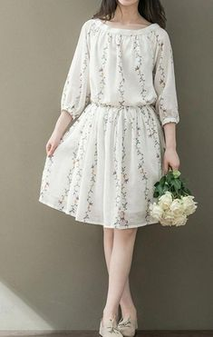 Women loose fit over plus size flower pocket dress skater tunic fashion chic - Woman Pic Simple Dresses, Pretty Dresses, Casual Dresses, Floral Dresses, Casual Clothes, Casual Shoes, Casual Outfits, Look Fashion, Trendy Fashion