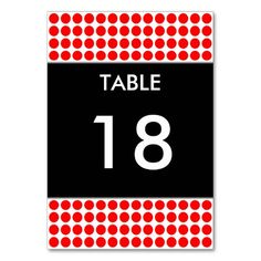 Red Dots Table Number Card