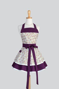 Ruffled Retro Apron Eggplant Violet and Vintage Petite Floral handmade by CreativeChics #CreativeChics #VintageAprons