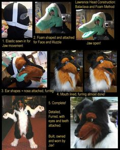Lawrence Head Construction By Jax. Balaclava head with a moving jaw Fursuit Tutorial, Cosplay Tutorial, Cosplay Diy, Furry Art Clean, Puppet Costume, Fursuit Head, Mascot Costumes, Halloween Costumes, Dimples