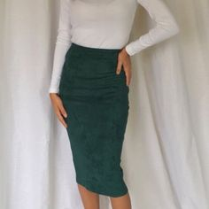 LAST ONE‼️Suede pencil skirt Teal suede pencil skirt Skirts Pencil