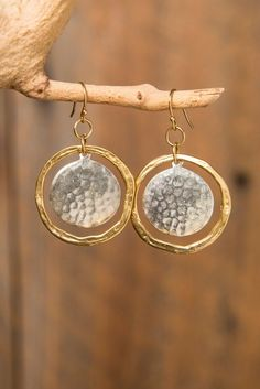 Mixed Metal Hammered Gold Hoop with Hammered Silver or Gold Disk Earrings on Etsy, $45.00