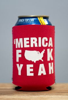 Merica FUCK Yeah Koozie - can't wait for of July :) Funny 4th Of July, Fourth Of July, Trash Party, Beer Opener, Patriotic Party, My Guy, Holidays And Events, Silhouette Portrait, Silhouette Cameo