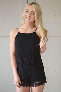 Pippa Black Lace Romper