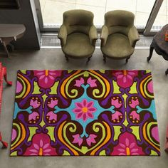 Apple Rugs Harlequin Scroll Multi Rug - A lively coloured rugs in an eye-catching vivacious design. This is the Scroll Multi rug from the Harlequin modern acrylic rug collection. Furniture Showroom, Bedroom Furniture, Traditional Rugs, Large Rugs, Dining Table Chairs, Large Furniture, Colorful Rugs, Rug Size, Upholstery