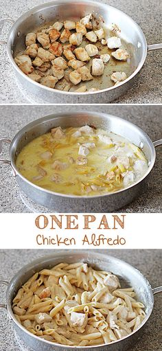 One-Pan Chicken Alfredo- 21 Simple One Pot Dinners for when you're short on time or don't want to clean up multiple pots.