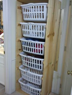 Each basket hold the same amount of laundry as our washing machine. I labeled them with the exact contents so there is no longer the question of what to do with the gray laundry. No more digging through the hamper to get all the clothes to fill that load. This would be cool to do.