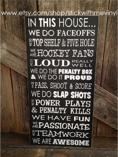 In this house we do FACEOFFS Hockey sport home family hockey fan sign home decor on Etsy, $32.00