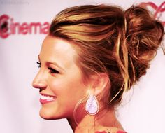 Pulled back up-do hair idea from Blake Lively