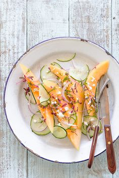 Cantaloupe and Cucumber Feta Salad via Bakers Royale