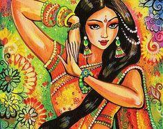 beautiful Indian woman painting feminine beauty bollywood dance Indian dancer, home decor wall decor woman art set, ACEO wood block, ABDG Indian Women Painting, Indian Art Paintings, Dance Paintings, India Art, Arte Popular, Tantra, Woman Painting, Female Art, Bollywood