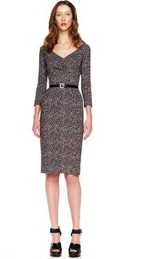 Michael Kors Gray Tweed Herringbone Printed Cady Dress