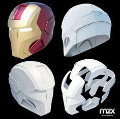 Mark 16 Night Club helmet My own model. Iron Man Helmet, Iron Man Suit, Iron Man Armor, Iron Man Cosplay, Cosplay Diy, Helmet Design, Mask Design, Armadura Cosplay, Foam Armor