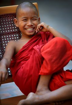 A happy monk in training.