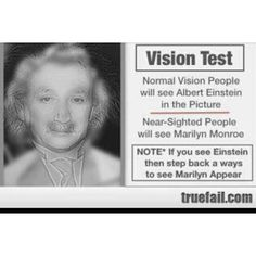Weird. Move very close to the screen and see Einstein then move several feet back and see Marilyn Monroe