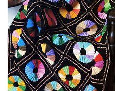 Vintage Crochet Pattern Color Wheel Afghan Rainbow Quilt 1970s Digital Download PDF