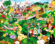 The artistsasked people in Dolores Park to draw pictures of what they thought should be included in a painting of the park. He collaged those drawings into this painting, Our Dolores Park. - TODD BERMAN, ET AL. Art Auction, Auction Ideas, Community Art, Drawing People, Art School, Creative Inspiration, Dolores Park, Vibrant, San