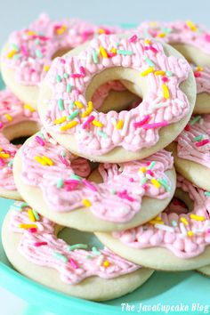 Donut Sugar Cookies - your favorite soft sugar cookie frosted with buttercream to look like a donut!