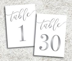 Printable Silver Table Numbers 1 - 30 | Instant Download | Silver Wedding Table Numbers | Platinum Table Numbers | Gray Grey | DIY Reception