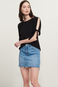Give them the cold shoulder. Cold Shoulder Tee with Tied Sleeves
