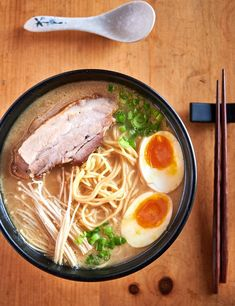 tonkotsu ramen at home glebe kitchen There s nothing like a hot bowl of ramen to warm you up on a cool fall day This bowl of savory soup is packed with eggs noodles mushrooms pork belly and bacon tare for a filling meal Asian Recipes, Ramen Noodle Recipes, Soup Recipes, Cooking Recipes, Healthy Recipes, Hawaiian Recipes, Noodle Soups, Ramen Broth, Pork Broth