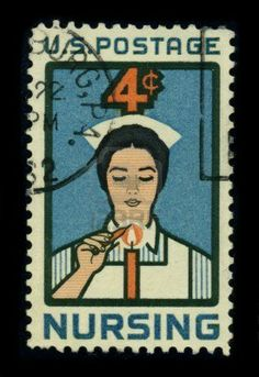 USA-CIRCA 1962: A stamp dedicated to the Nursing is a healthcare profession focused on the care of individuals, families, and communities so they may attain, maintain, or recover optimal health and quality of life from birth to death, circa 1980.