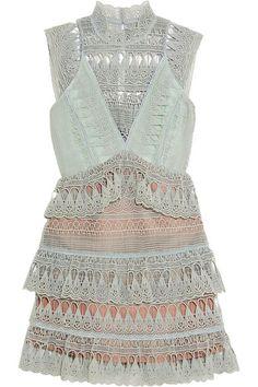 SELF-PORTRAIT Tiered Guipure Lace Mini Dress. #self-portrait #cloth #dresses
