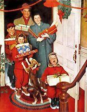 """Merry Christmas 1950 Norman Rockwell Print 8' x 10""""  Matted to 11"""" x 14"""" Peintures Norman Rockwell, Norman Rockwell Art, Norman Rockwell Paintings, Christmas Ad, Christmas Scenes, Christmas Pictures, Vintage Christmas, Hallmark Christmas, English Christmas"""
