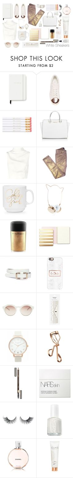 """White Sneakers: White & Gold"" by cara-mia-mon-cher ❤ liked on Polyvore featuring Kate Spade, adidas, Michael Kors, Keepsake the Label, Zadig & Voltaire, MAC Cosmetics, Casetify, self-portrait, Topshop and Olivia Burton"