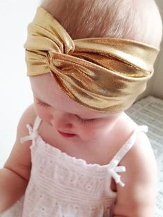 Gorgeous Gold Baby Turban  Little Girl Gold by BaybeeChickBoutique
