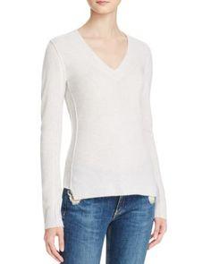 AQUA Cashmere V-Neck Cashmere Sweater | Bloomingdale's