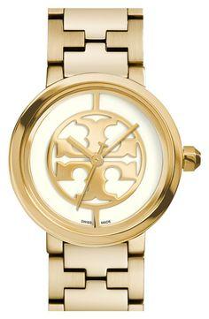Tory Burch Gold Logo Dial Bracelet Watch