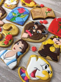 Sophisticated Beauty And The Beast Birthday Party Cookies http://TheIcedSugarCookie.com Tale Cookies