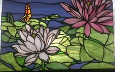 stained glass lily flower | stained glass pattern water lilies | Lily Pond Stained Glass Panel by ...
