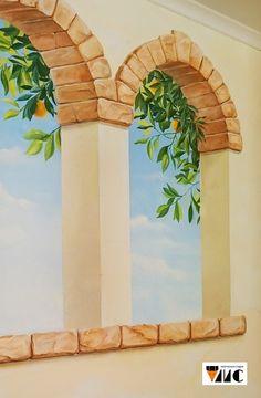 Роспись-обманка в Новосибирске. Арочные фальш-окна в итальянском стиле.