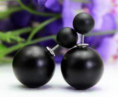 Kolczyki czarne kulki Silvona
