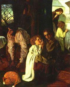 """Arthur Hughes """"Bedtime"""" 1861"""