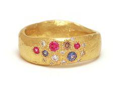 Random ring  Katherine Bowman  18ct yellow gold, diamonds, champagne diamonds, pink sapphires, Ceylon sapphires  $3310