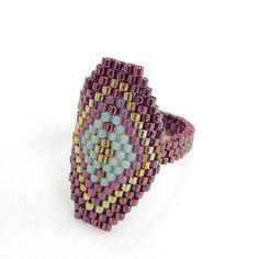 Beaded ring Peyote ring Metallic Red Hexagon Ring Hexagon Statement Ring by JeannieRichard