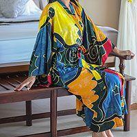 Women's batik robe, 'Paradise Peacock'