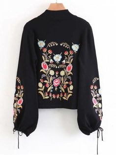 Mock Neck Flare Sleeve Floral Embroidered Sweater - BLACK L